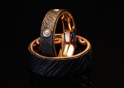 custom rose gold iron wedding rings