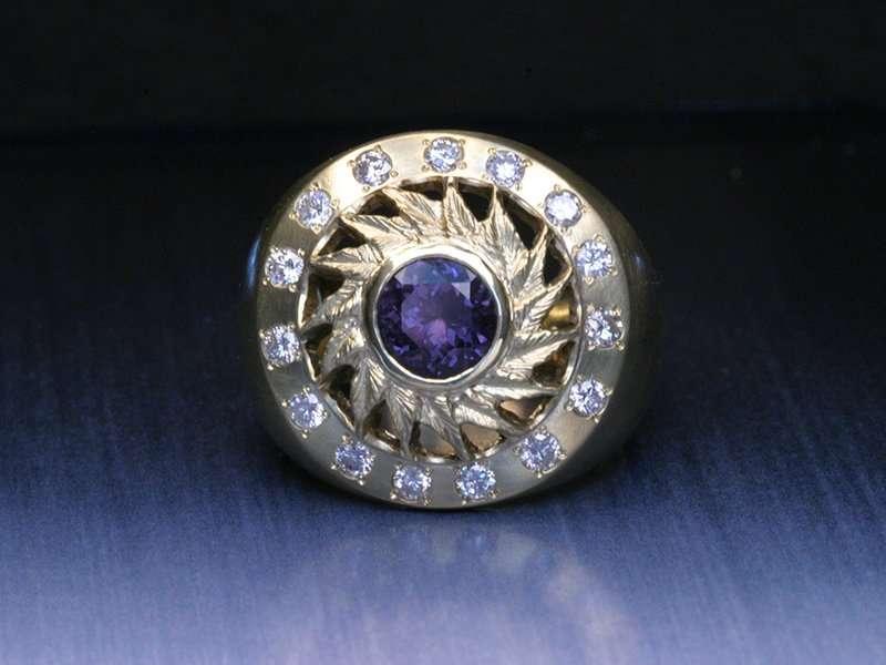 unique gold diamond anniversary ring