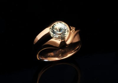 unique palladium engagement ring aquamarine