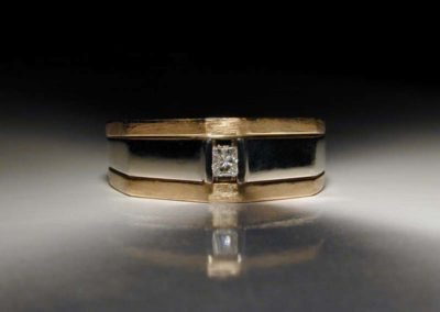 unique yellow and white gold mens wedding ring
