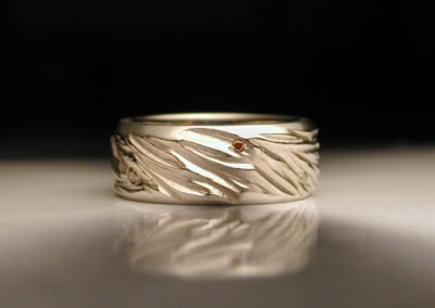 unique mens wedding ring carved