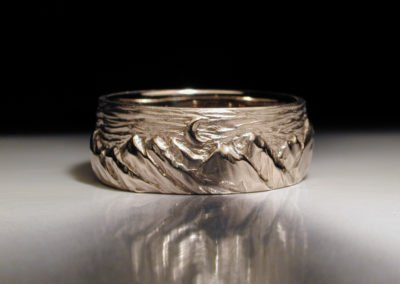 unique mens wedding ring, carved mountains, platinum, palladium, gold, anniversary ring