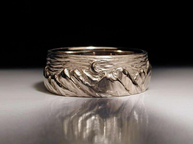 unique mens wedding ring, carved mountains, platinum, palladium, gold, anniversary ring