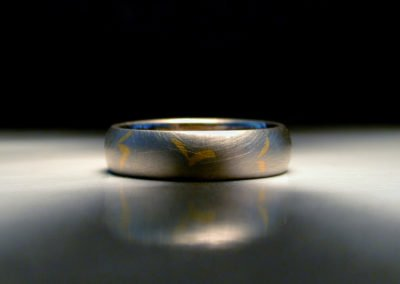 unique mens wedding ring, inlaid gold, pure gold