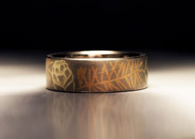 unique womens wedding ring inlaid hemlock